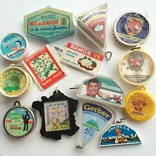 14 Vintage French Cheese Charms Keychain Keyrings Advertising Food Laughing Cow