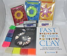 Huge Lot Polymer Neon Clay Craft Books + Tools Dough Art Vintage Multiple