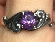Vintage Sterling Silver KABANA 925 Amethyst Scroll Solitaire Ring Size 8.75 K92
