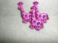 RETRO Hot Pink BABY GIRAFFE - Novelty Buttons - Dress It Up - Sewing