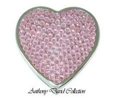 Pink Crystal Heart Pill Box Case with Silver Metal & Lt. Rose Swarovski Crystals