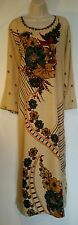 Ladies vintage 70's style full lenght sleeved dress printed kaftan large