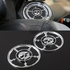 "4.5"" Motorcycle Chrome Skull Speaker Trim Grill Cover For Harley Touring 96-2013"