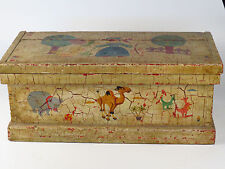 Antique Wood Chest Trunk Tool Box Hand Painted Noah's Ark Folk Art Paint Layers
