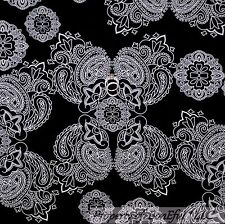 BonEful Fabric FQ Cotton Quilt B&W Black White Damask Flower Paisley Large Goth