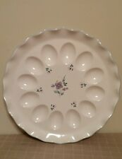 Pfaltzgraff April Fluted Deviled Egg Plate Serving Tray Retired Pattern
