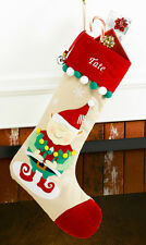 Elf Personalized Christmas Stocking made of Tan Corduroy and Red Velvet