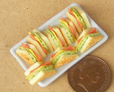 8 Sandwiches On Ceramic Plate Dolls House Miniature Kitchen Bread Accessory W92