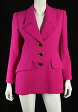 YVES SAINT LAURENT Vintage Fuchsia Ribbed Wool Gold Heart Button Jacket 40