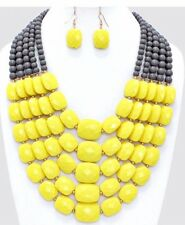 Very Chunky Big Yellow Gray Pearl Acrylic Multi Layered Bead Necklace Earring