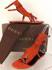 NIB GUCCI BECKY RED SUEDE FRINGE THONG HI TOP FLATS SANDALS 36 6 #347285