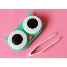 Owl Contact Len Case Cute Travel Storage Soak Kit Hard Holder Container Box UK79