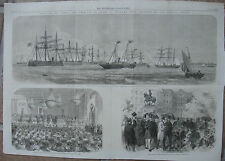 1864 Three Antique Prints - Prince of Wales in Copenhagen -Christiansborg Palace