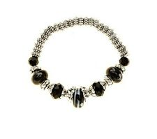Charmadillo Black White Pattern Charm Bead Silver Tone Stretch Fashion Bracelet