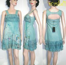 SAVE THE QUEEN delicate L Aqua blue Silk Chiffon LACE detail dress NWT Authentic