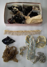 AntiqueTrim Beads Collars Fringe As-is beaded trim some pre1880's 20's Box Lot