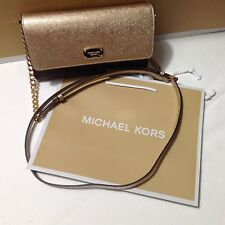 NWT Michael Kors Brown Gold Jet Set Large Phone Crossbody Wallet Signature New