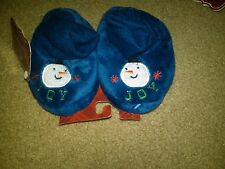 NWT TODDLER BLUE CHRISTMAS SLIPPERS CUFFED FAUX FUR SNOWMAN XS 1-2