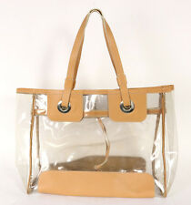 HOGAN Clear PVC & Tan Leather Large Shopper Tote Bag