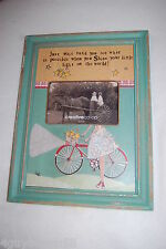 "FRAME Hang or Stand DISTRESSED GREEN Girl Child BIKE 10 3/8""x14"" for 6x4 photo"