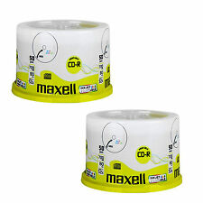 100 Maxell CD-R 80Min (52x) Wide White InkJet Printable (2 x 50 spindle) 700MB
