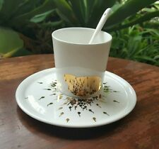 Longda Bone China Coffee Tea Hot Chocolate Set Cup - Saucer - Spoon White & Gold