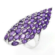 Sterling silver 925 Huge Genuine Natural  Amethyst Designer Ring Size R.5 (US 9)