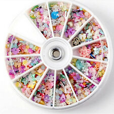 1200Pcs Popular Nail Art Tips Fimo Decor Pearl Flower Slice Rhinestone Wheel DIY