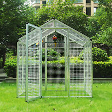 Large Aluminum Bird Cage Gentle Animals House Pet Parrots Poultry Walk in Aviary