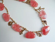 KENNETH JAY LANE Neiman Marcus Cherry Quartz & Charms Gold Tone Necklace