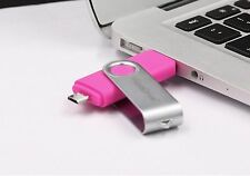 Pink 8GB USB 2.0 and micro usb Flash Pen Drive Memory Stick Rotary Thumb Key