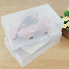 5pcsTransparent Clear Plastic Shoe Storage Box Foldable Stackable Boxes LARGE