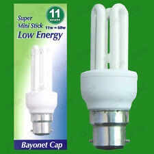 10x 11W Low Energy Power Saving CFL Mini Stick Light Bulbs BC B22 Bayonet Lamps