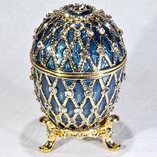 2.5'' EASTER ENAMELED BLUE EGG TRINKET BOX TRELLIS RUSSIAN TRADITIONS OF FABERGE