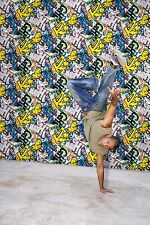 "Smita Vlies Tapete "" What´s Up "" Grafitti  bunt / Hip Hop / Breakdance / Tapete"