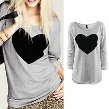 New Fashion Womens Black Heart Long Sleeve Casual Loose Tee Shirt Tops Blouse M