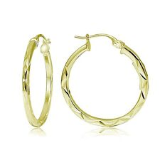 """Gold Tone Over Sterling Silver Diamond-Cut .6"""" Small Square Hoop Earrings"""