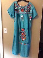 Turquoise Cotton Poly Mexican Embroidered Peasant Dress Boho Hippie Sz L XL