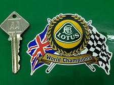 LOTUS World Champs Flags & Scroll old style car sticker