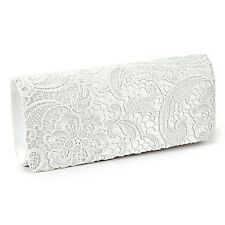 SATIN LACE FLORAL PROM WEDDING EVENING CLUTCH HANDBAG