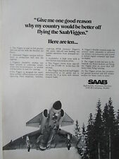 10/1973 PUB SAAB 37 VIGGEN FIGHTER ROYAL SWEDISH AIR FORCE ORIGINAL AD
