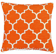 Orange & Cream 17 inch Luxury Chenille Moroccan Design Geometric Cushion Cover