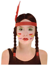 Ladies Indian Squaw Wig Accessory For Wild West Fancy Dress Adults Womens