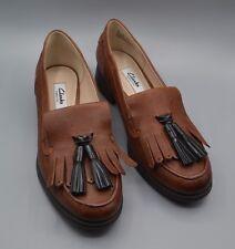 """New clarks """"busby folly"""" femmes foncé tan en cuir richelieu à loisirs chaussures uk 4.5 d"""