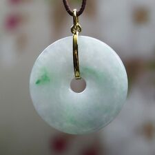 Certified Natural Untreated Icy Lavender Green Jadeite JADE Circle Pendant * 18K