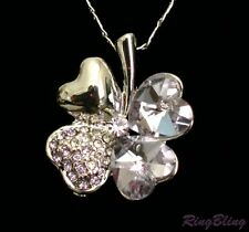 4 Leaf Clover Lilac Crystal Necklace Lucky Charm Pendant. UK Supplier! 50% Off!