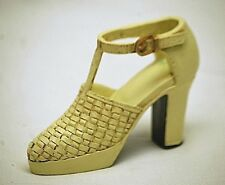 Classic Style Resin High Heel Cream Shoe Boot w Weave Design Collectible