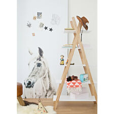 Kids Teepee Bookcase 380200-W Tipi Bookcase Solid Pine Frame White Shelf