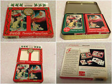 COCA COLA 2 MAZZI DI CARTE COCA COLA IN METAL BOX PLAYING CARD POKER SANTA CLAUS
