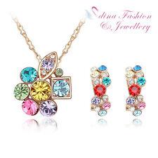 18K Rose Gold Plated Genuine Swarovski Crystal Multicolored Cluster Set